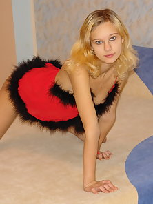 Blonde Fur Dressed Teen Babe Undressed On Bed and Naked