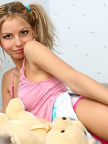 Hot Teen Pigtail Blonde Babe Sexually Spanking Her Round Ass Sleep Over Bed