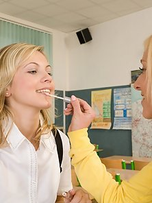 Horny Blonde Schoolgirls Fingering Each Other Snatch In 69 Styles in Classroom