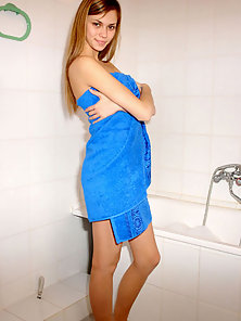 Hot Katrina in Blue Towel Playing In Bath Tub