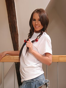 Pigtail Brunette Teen Crazily Touching To Her Small Wet Cockpit