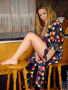 Sexiest Blonde Teen Joy Playing With Her Slit in Nice Robe