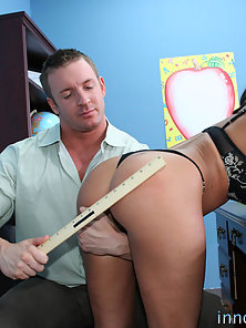 Sexy Charley Chase has a visit with her principal that ends in a facial