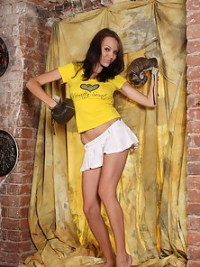 Tall Yellow Top Pretty Teen Brunette Does a Sexy Striptease for Reveal Pussy