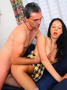 Cute Brunette Schoolgirl Enjoying Blowjob with Her Teacher Big Cock