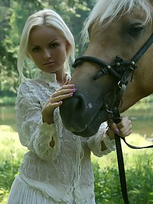 Ponytail Sexy White Dressed Babe Naked Horse Riding Action