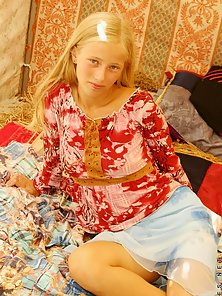 Blonde Sexy Babe Ljuba in a Tent Wait for Her Clint