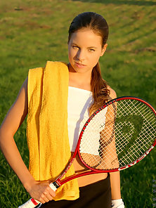 Hot Tennis Player Making Thrilled and Banged In Field