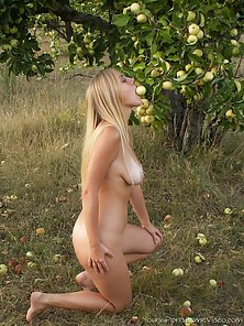 Hot naked teen in water and in woods