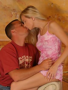 Stunning Blonde Chick Kissed and Then Fucked Hard By the Hunky Guy