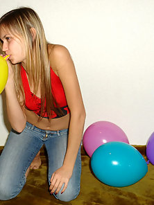 Pinkish Girl Katrina Playing With Balloons and Getting Naked Slowly