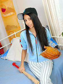 Attractive Teen Cute Brunette Babe Enjoying the In Baseball Player Dress On Bed