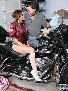 Cute Babe on Bike Seduce Blows and Twat Lick for a Banged In Shaved Twat