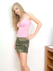 Blonde Teen Poses and Gradually Strips Her Dress Off Seductively