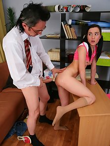 Pigtail Brunette Teen Gets Boobs Kiss Action with Her Teacher in the Office