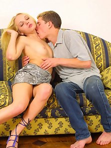 Cute Blonde Teen Enjoying Blowjob Action Her Boy Friend Cock on the Couch