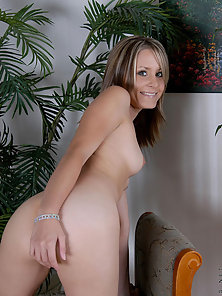 Super Slim Blonde Alluring Angelina Happily Pinching and Rubbing Her Nipples