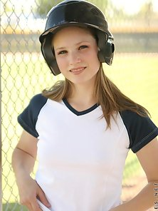 Sexy Blonde Teen Jules Loves To Be Base Ball Player