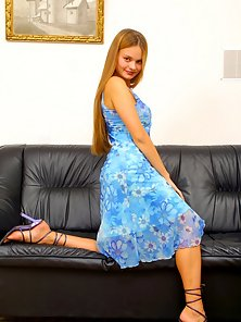 Long Dressed Blonde Babe Excited and Dildo Muff Action on Couch blonde,