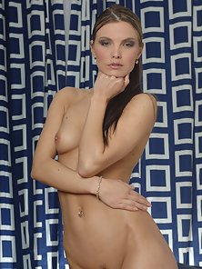 Yellow Dressed Pigtail Babe Shows Her Tits and Trimmed Pussy