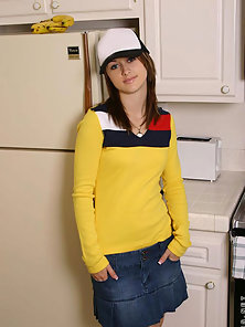 Yellow Dressed Babe Nubile Spreading Dress in the Kitchen