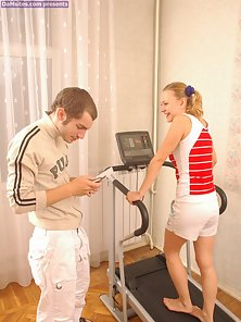 Pigtail Sexy Babe Strips and Hammered On Workout Machine