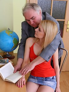 Pretty Blonde Teen Shannon Exposing Sweet Holes With Her Aged Office Owner