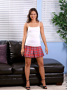 Loveable barely legal teen in plaid min