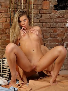 Gorgeous Blonde Naughty Teen Shows Her Spread Pussy