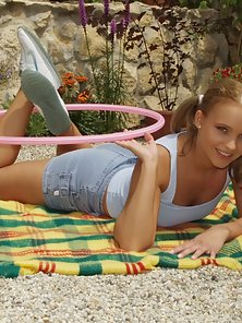 Cute Teen Pigtail Blonde Babe Stripping Her Dress And Lying In Garden