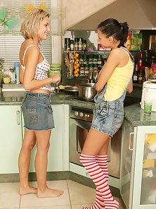 Two Hot Lesbian Girls Are Making Some Food Preparation in the Kitchen