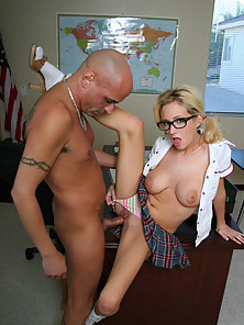 Slim Blonde gets Fucked by the Tattooed Teacher