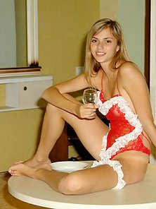 Hot Blonde Katrina in Red Dress Drinking Wine in Horny Mood
