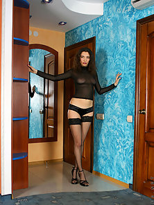 Nubile Brunette Hot Horny With the Sofa and Posing Naughtily