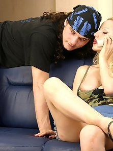 Gorgeous Attractive Blonde Babe Are Getting Blowjob and Hammered from Hunky Bf