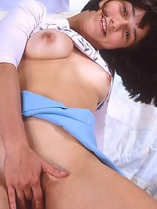 Short Haired Babe on Bed Hairy Twat Finger Poke Action
