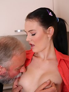 Gorgeous Girl Fucked Hard Her Wet Pussy by Old Man in Kitchen Room