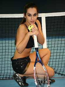 Italian Tennis Player Stripping Her Bikini and Showing Her Body on The Playground