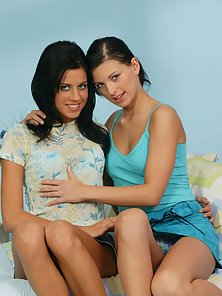 Hot Striptease and Lesbian Activities by Two Stunning Brunette Babes