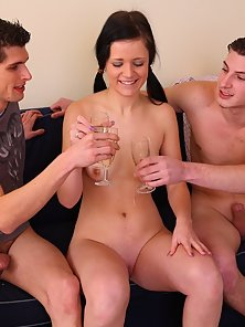 Cutest Brunette Teen Massive Doggy Style Fuck on Couch by Two Dudes till Orgasm