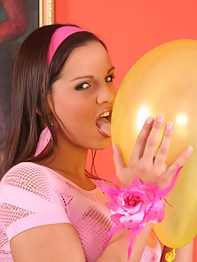 Partygirl Eva Playing With Her Shaved Pussy and Pink Balloons