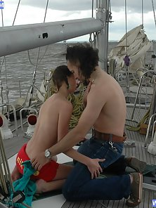 Hot Slim Pigtail Teen Gets Her Tight Cunt Licked and Fucked On the Boat