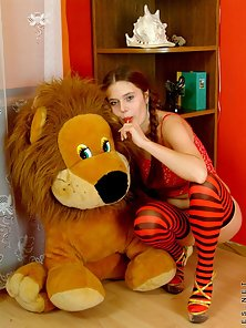 Horny Pigtail Sexy Babe in Red Bikini Posing With Lollipop Wit Teddy