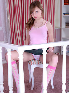 Pretty Teen Carley Showing Her Panty While Sitting On Chair and Waiting For Deep Fuck