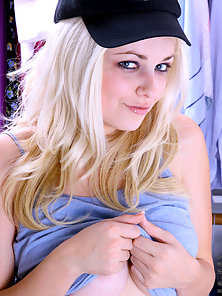 Stunning Blonde Coy Girl Flashing and Covering Her Jugs in Shy and Gets Pleased
