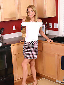 Blonde Babe in Mini Skirt Making Horny Sex in Kitchen