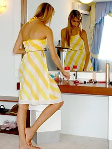 Sweet Teen Katrina Making up Her Face and Striping Her Dress Slowly