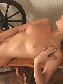 Super Skinny Blonde Chick Crazily Laying On Table with Pussy Rubbing Action