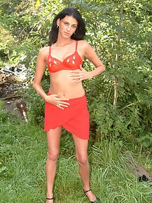 Red Lingerie Sexy Flat Babe Shows Her Body In Outdoor