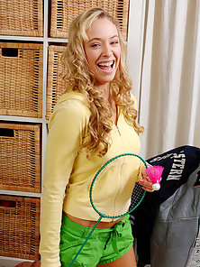 Sexy Badminton Player Naughty Action Of In Dorm Room